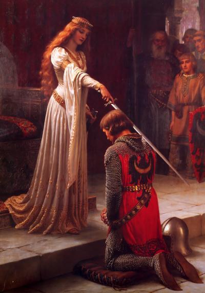 Beim Ritterschlag berührt der Lehnsherr den neuen Ritter mit der Schwertspitze auf beiden Schultern und dem Kopf.